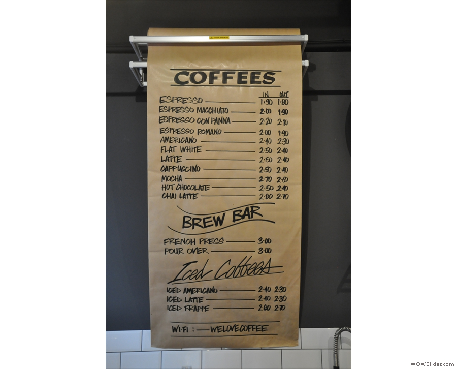A fairly standard espresso menu there, plus pour-over.