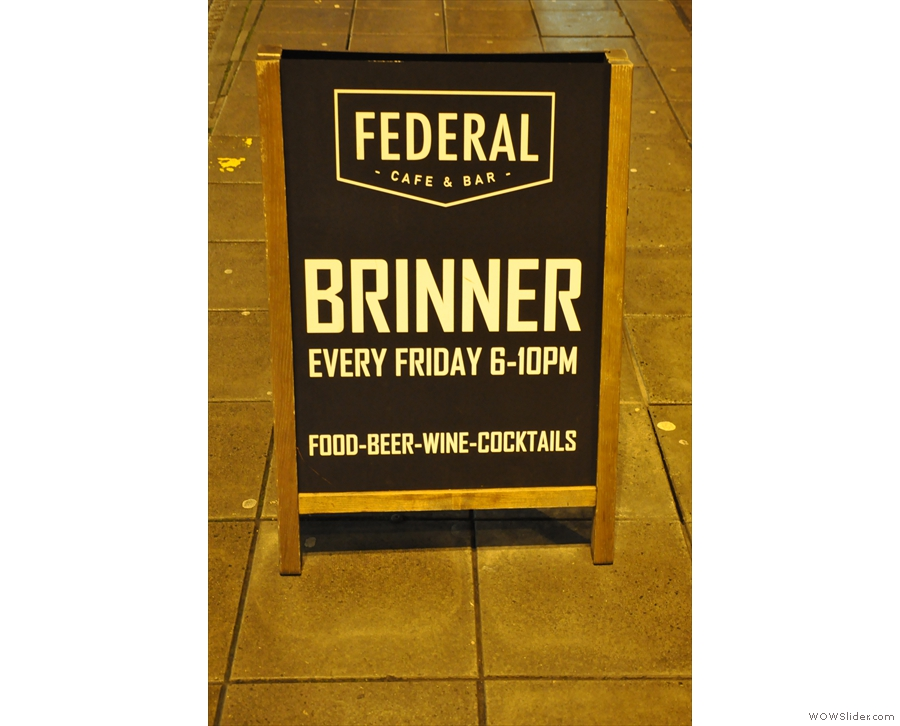 The A-board proudly proclaims one of mankind's greatest achievements: Brinner!