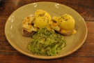 I, naturally, couldn't resist. My dinner: Eggs Benedict with avocado & halloumi.