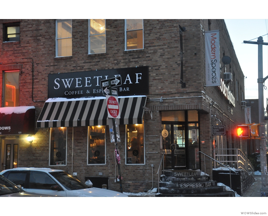 Sweetleaf is at one end of the building, which it shares with Modern Spaces estate agents.