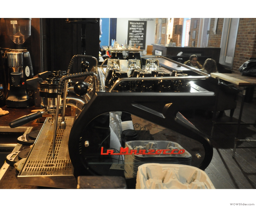 But what to have? Espresso, from this delightful La Marzocco Strada...