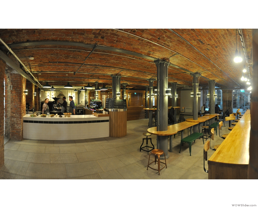 The cafe part of Ancoats is amazing, while the roastery is on display for all to see...