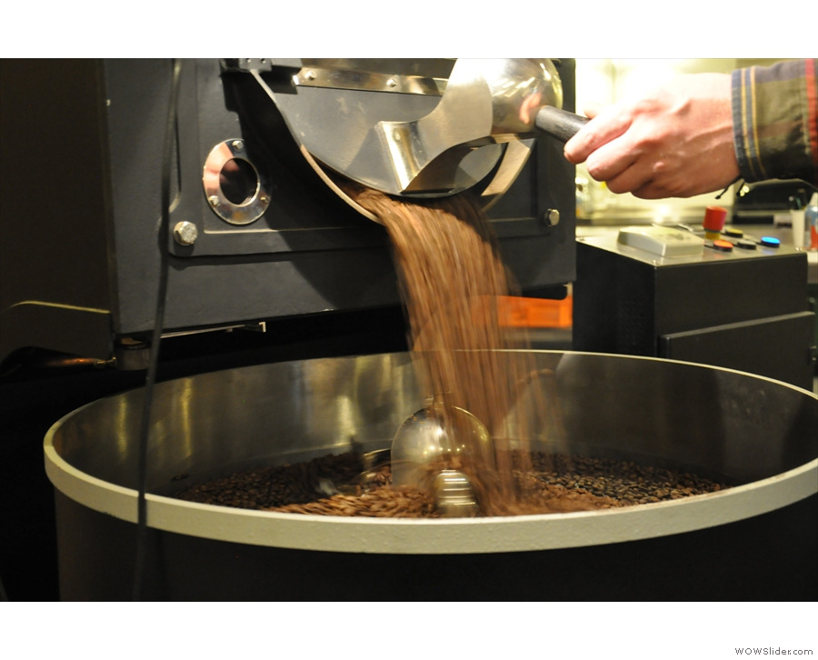 I love watching beans pouring out of the roaster.