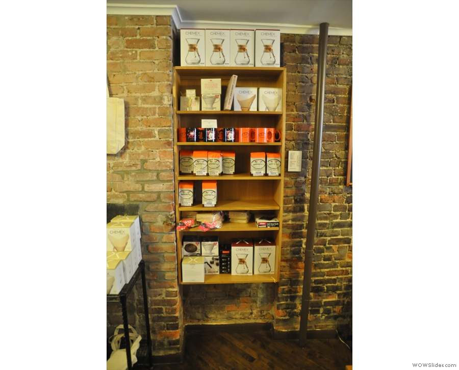 Naturally there's a shelf of coffee-kit for sale. Plus coffee, of course, all roasted in-house.