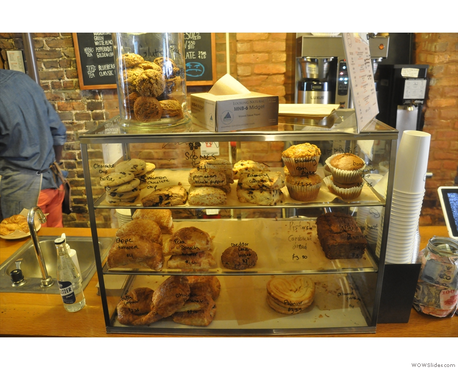 ... with the cakes, unusually, right at the back, the bulk-brewers on the wall behind.