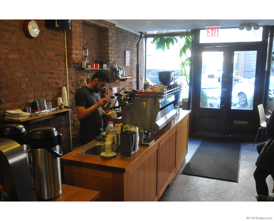 Finally, the espresso machine's right at the front, making things easy for takeaway customers.