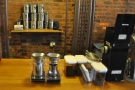 Next comes the pour-over coffee station, which also doubles for tea...