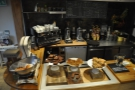 The counter, from half way up the stairs. The cakes are normally at the front by the way.