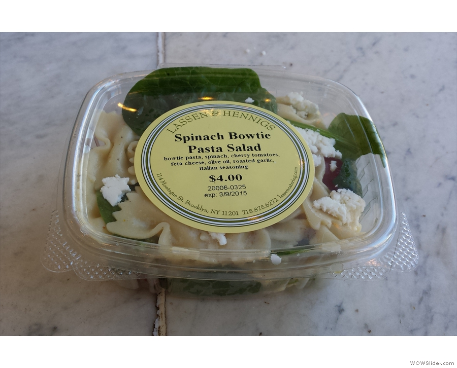 I also had a late lunch of a spinach-pasta salad.