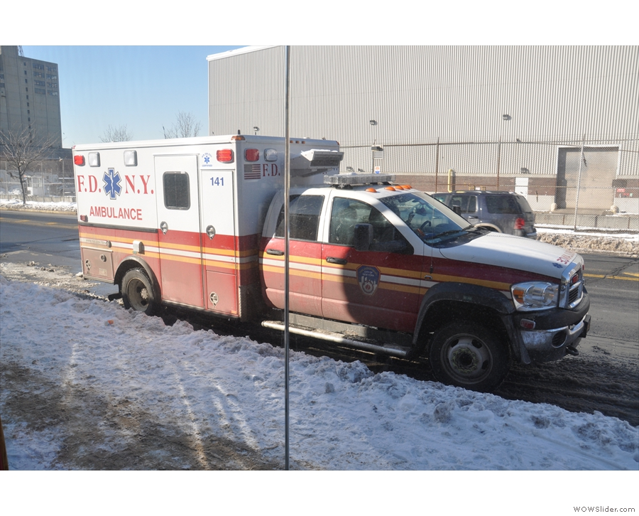 But wait! What's that outside? An ambulance! Someone ill? No, just a paramedic coffee break!