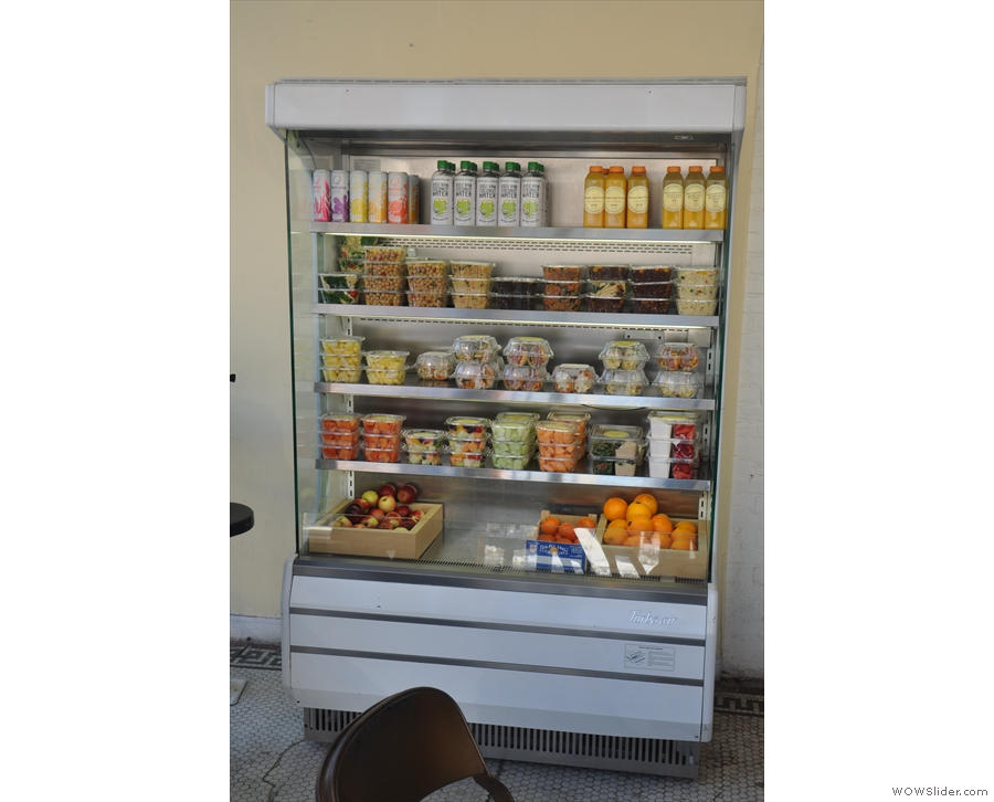 If you're feeling hungry, there's a selection of sandwiches and salads in the chiller cabinet...