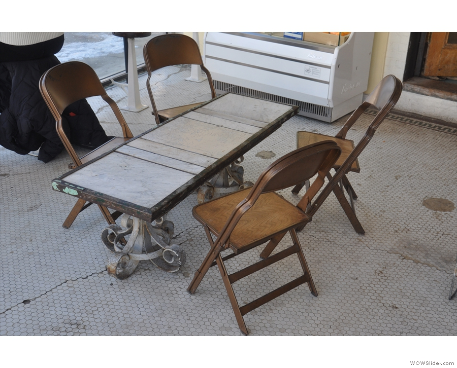 ... and this really neat four-person table between the counter and the window.
