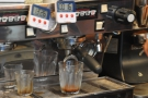 On my first visit, I was after espresso. New Row times all its shots and weighs the dose in.