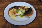 My Eggs Portobello. Effectively, Eggs Florentine, with portobello mushrooms not spinach.
