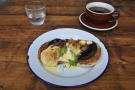 On my return, I arrived in time for brunch. I had the Eggs Portobello, plus coffee, of course.