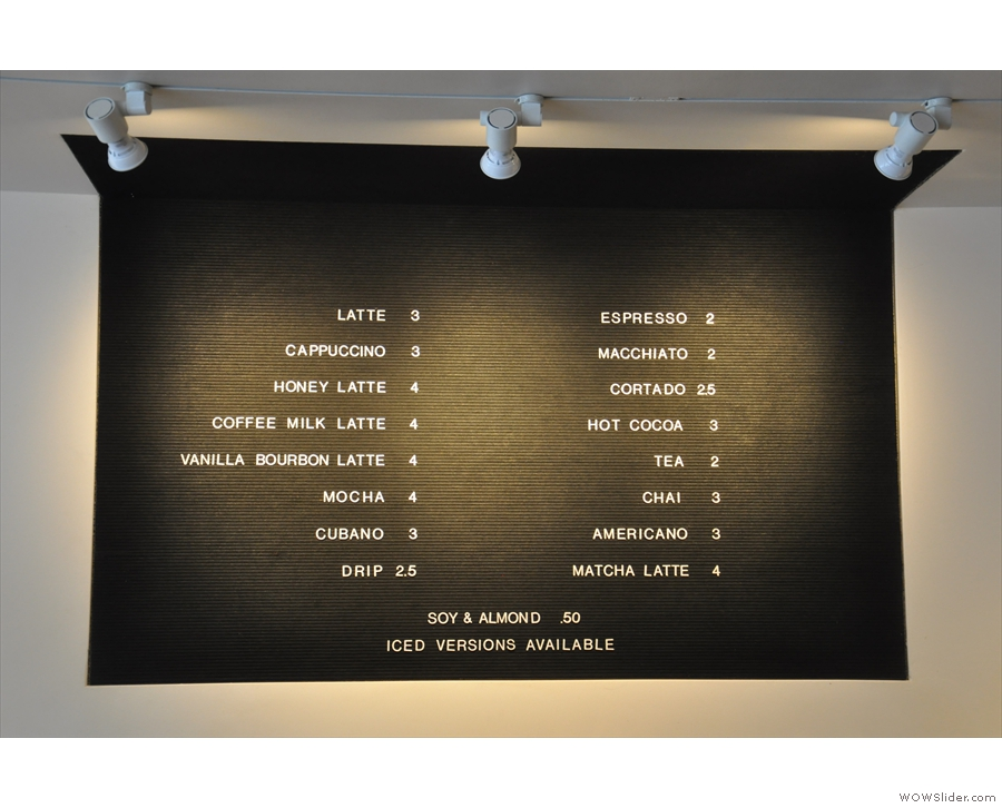 Interesting coffee menu.