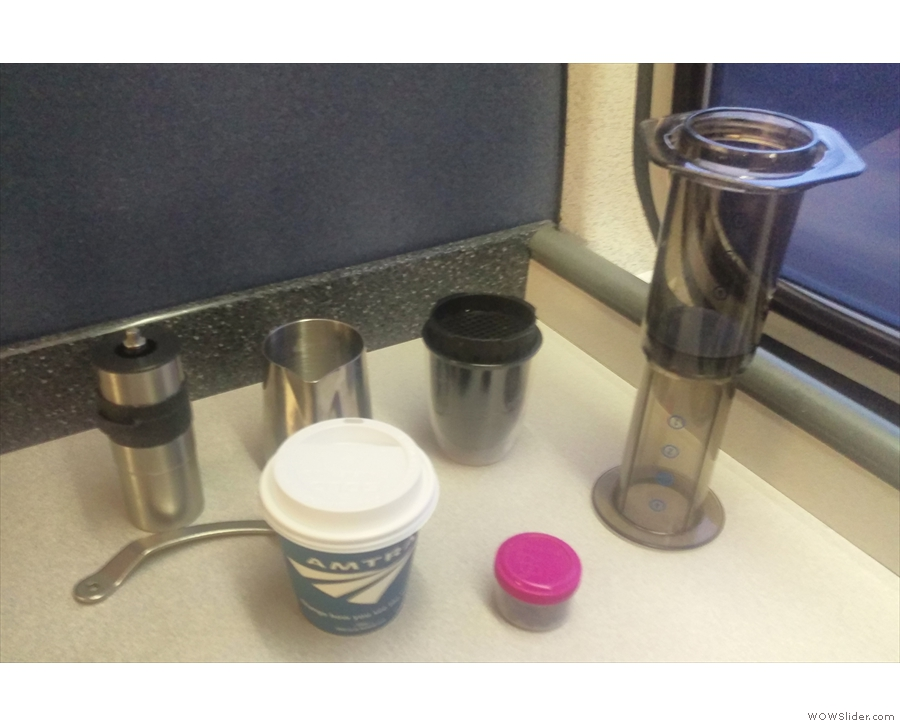 The secret to good coffee on trains: just add hot water (courtesy of Amtrak).