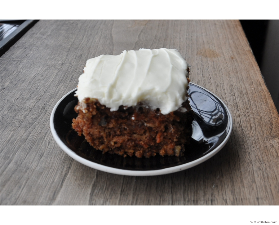 And, of course, another coffee calls for more cake: carrot cake to be precise.