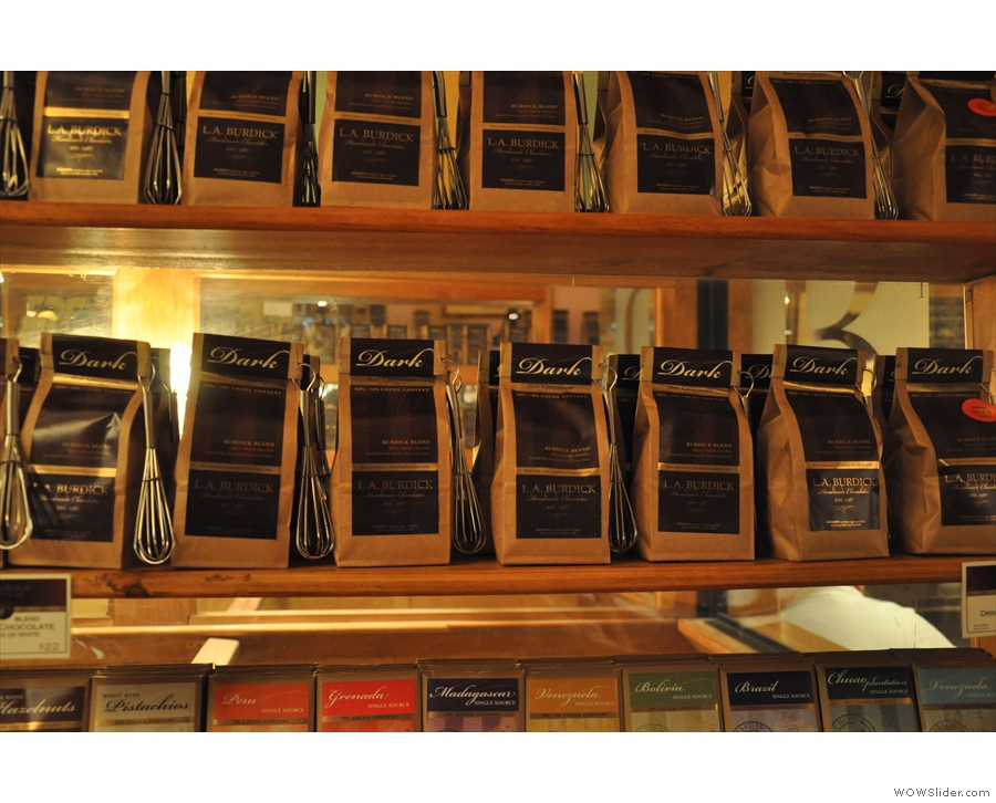 As well as chocolates for eating, you can also buy L.A. Burdick's legendary drinking chocolate.