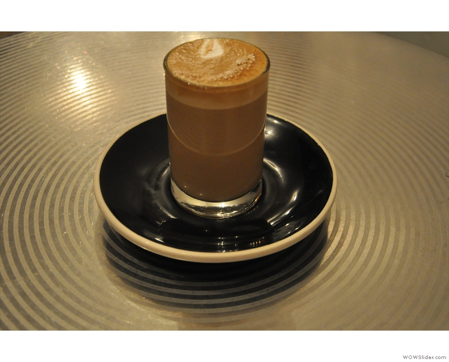 In keeping with long and thin, I had a cortado is a long, thin cylindrical glass.