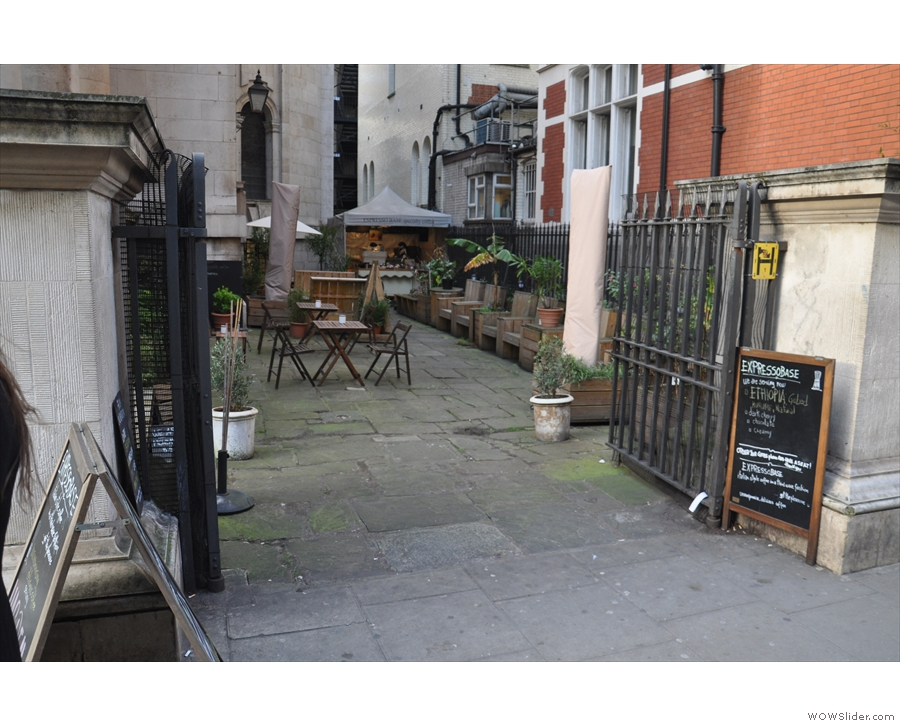Expresso Base, in St George's Churchyard, as seen from Bloomsbury Way.