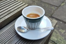 However, I've come for coffee: my Ethiopian espresso in a handleless cup...