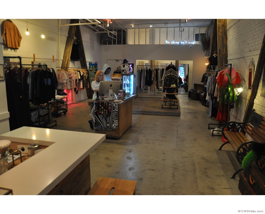 The clothing store and cafe opened at the same time and were conceived together.