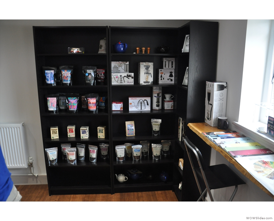 There's also a tempting shelf, full of coffee and coffee-related goodies.