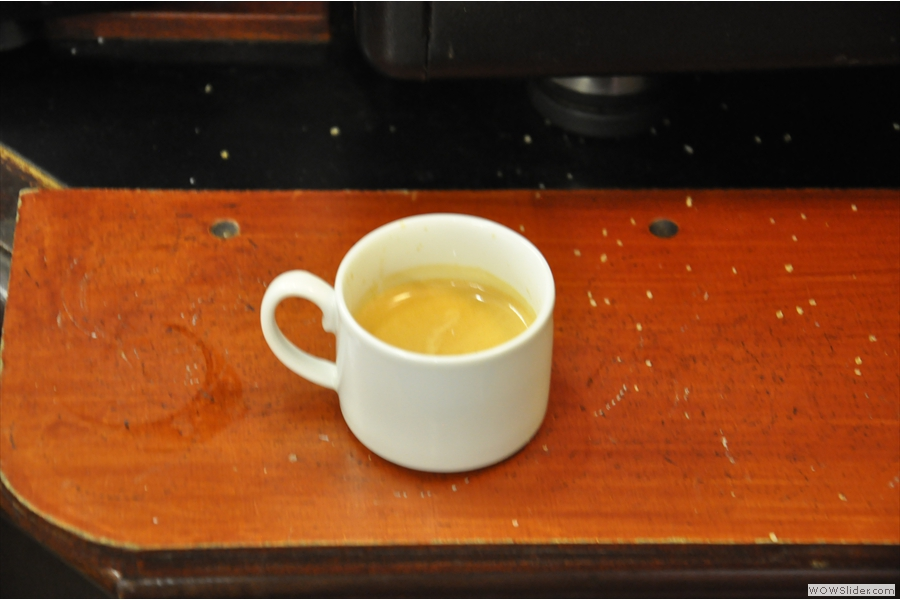 The excellent espresso (don't forget to bring your own cup!)