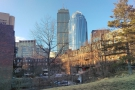 Another of Back Bay's notables, the Prudential Building, towers over more traditional housing.