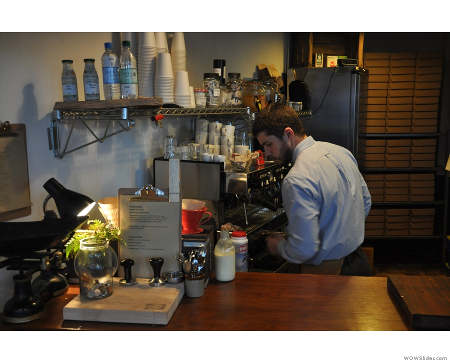 ... and this is how it is now. There's a new La Marzocco espresso machine...
