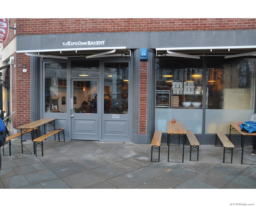 The Exploding Bakery, with its outside seating, as it looks in January 2016...