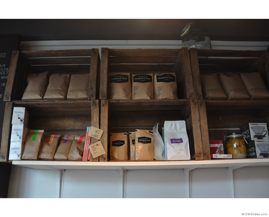 Further evidence of the coffee credentials are given by the retails bags on the shelves.