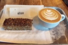 I had a seeded flapjack and a flat white...