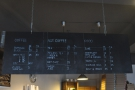 The concise menu hangs conveniently above the counter.