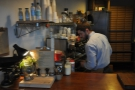 The two-group La Marzocco is on display behind the counter...