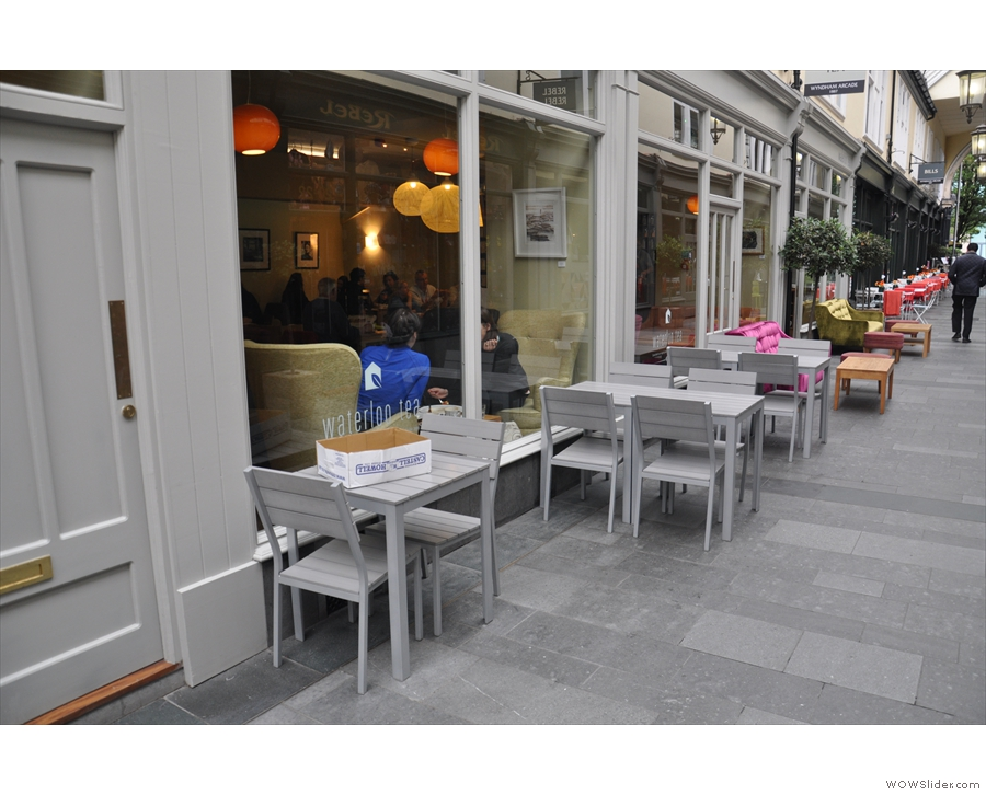 This is the view approaching from St Mary Street. There's plenty of 'outside' seating.