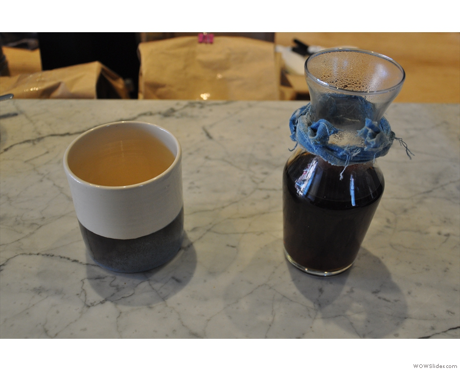 ... and here's the filter, which, while bulk-brew, is still served properly, in a carafe.