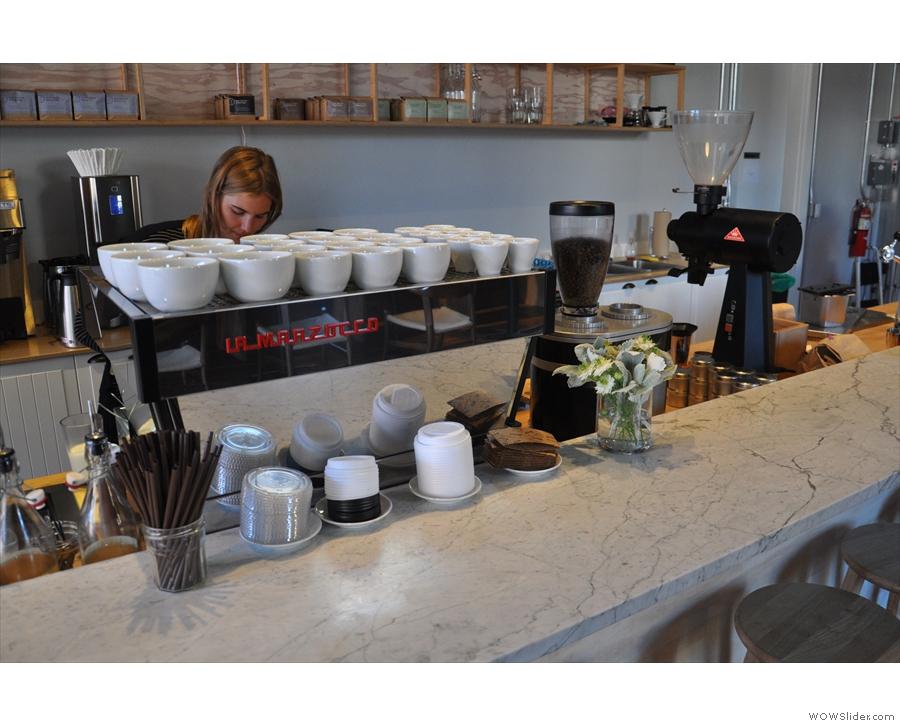 The La Marzocco espresso machine is at the heart of the operation.