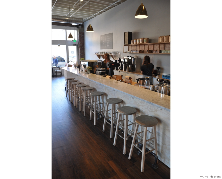 Another view of the bar stools at the counter.