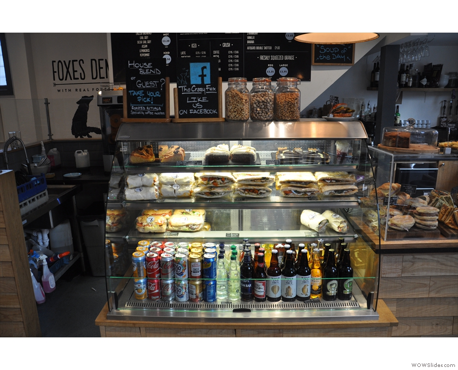 There are sandwiches, wraps, quiche, soft drinks, beer & cider in the big chiller cabinet...