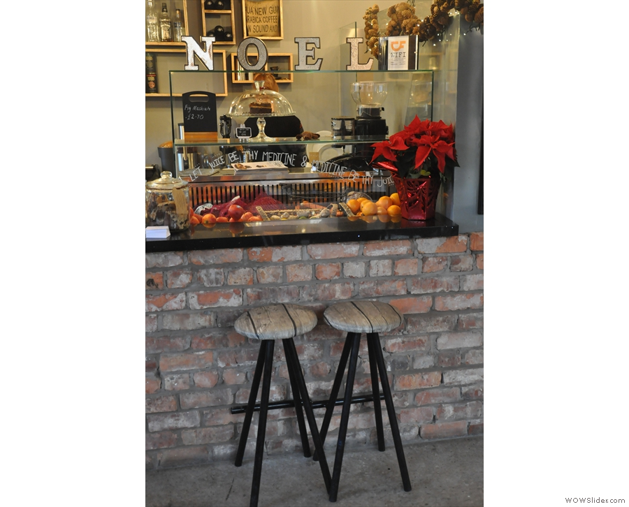 However, there are also other options, including these two stools by the brick-built counter...