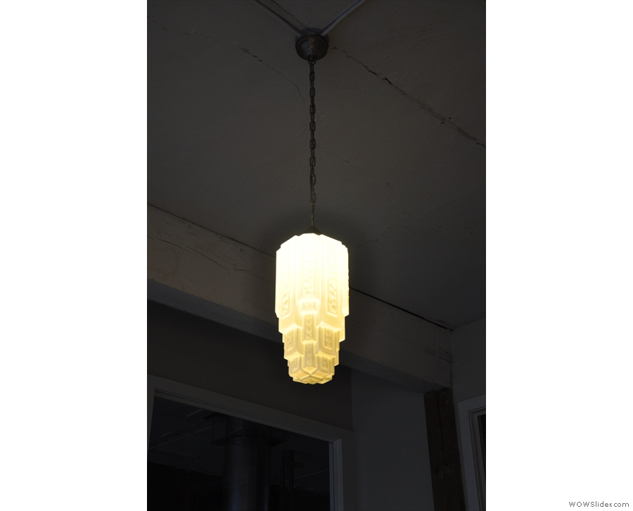 Back in the main room, one of Victrola's lovely light fittings.