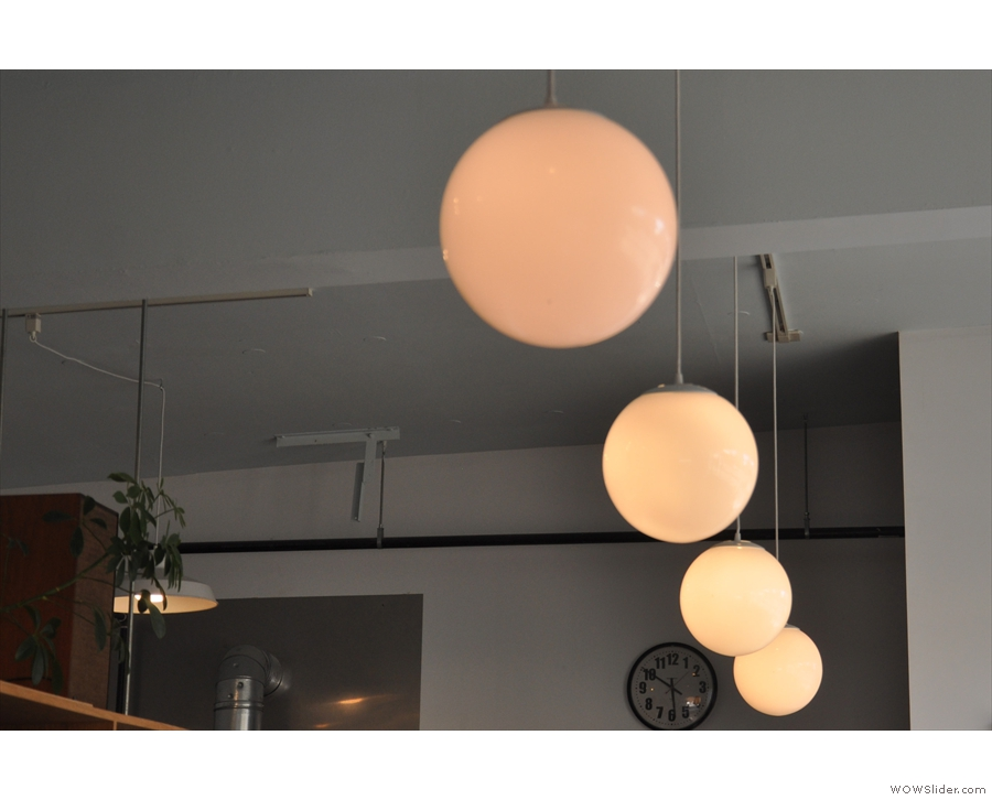 Although mostly windows, Tandem still has plenty of lights, such as these above the counter...