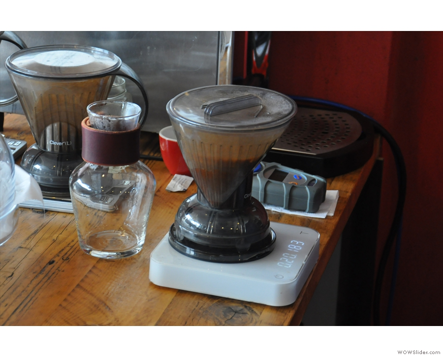 ... while the filter coffee is through the Clever Dripper. This is an immersion brewer...