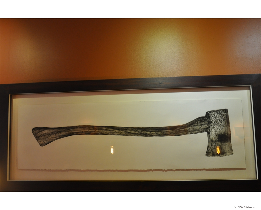 The Speckled Ax has a genuine axe on the wall.
