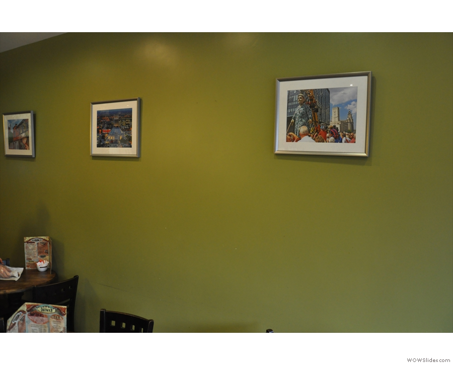 The decor is fairly simple too, with pictures on the walls...