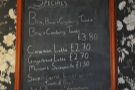 You'll also find the specials menu up here...