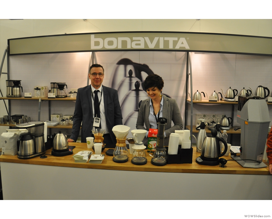 I'd come to meet the man on the left, Holger, Bonavita's expert barista.