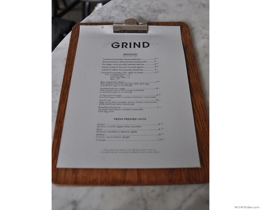 If you can't be bothered coming up to the counter, there are menus on the tables...